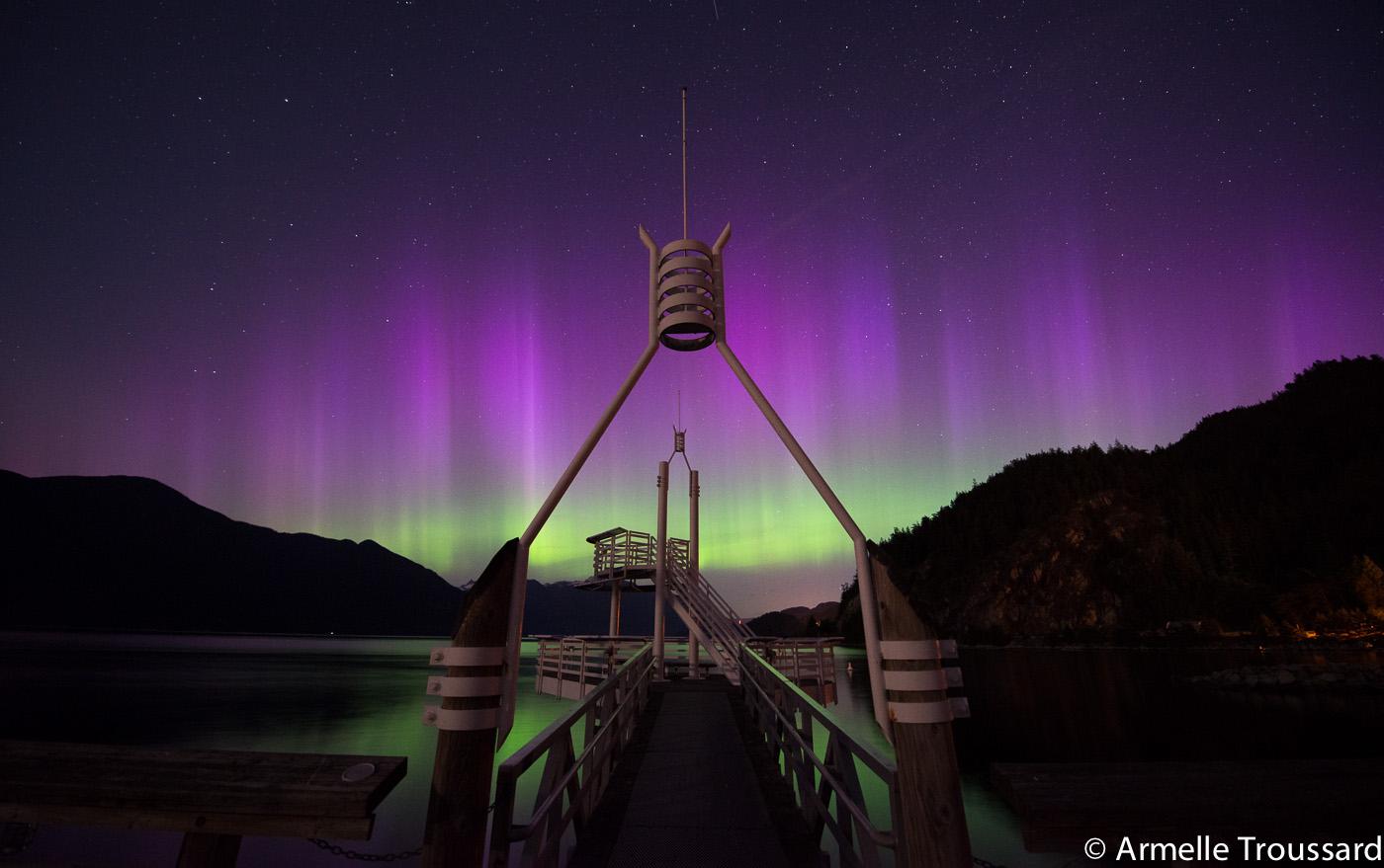 Aurora Borealis in Southern British Columbia, Canada.