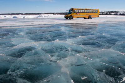 School bus - Dettah ice road - Lifestyle - Canada north - Yellow