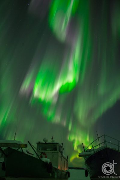 Aurora over Boats (vertical)