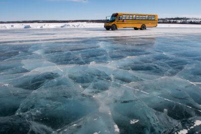 School bus - Dettah ice road - Lifestyle - Canada north - Yellow